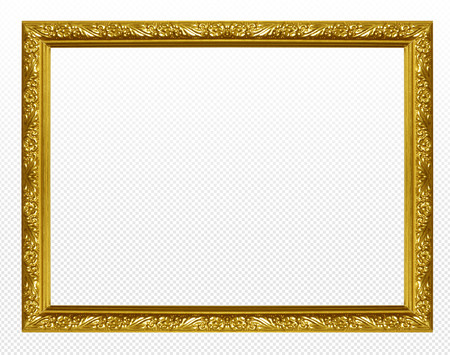 Golden wooden frame isolated on transparent background. Zdjęcie Seryjne
