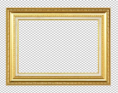 Cadre en bois doré isolé sur fond transparent