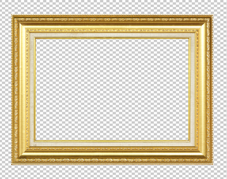 Golden wooden frame isolated on transparent background