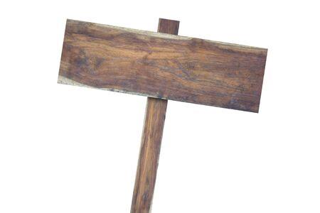 Oude houten borden geïsoleerd op een witte achtergrond Stockfoto