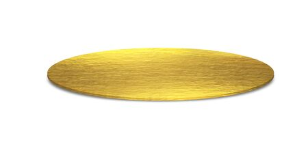 Golden metal plates isolated on a white background