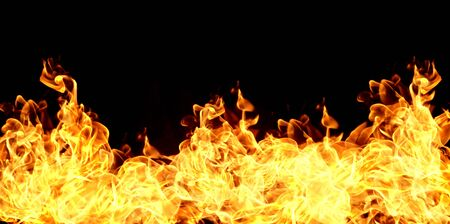 Fire flames on a black background abstract Banco de Imagens