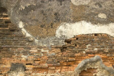 Old Grunge Dirty Old Brick Walls Outside Sukhothai Ancient Architecture Building