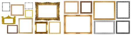 Old gold frame isolated on white background. Stockfoto