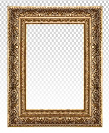 Golden wooden frame isolated on transparent background. Stockfoto