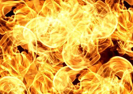 Feuerflammen auf schwarzem Hintergrund, abstrakter Hintergrund der Hitze