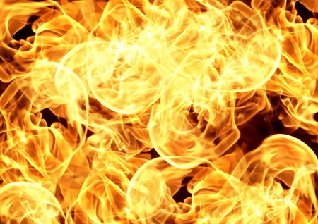 Fire flames on black background, Heat abstract background