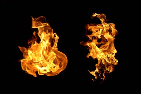 Fire flames on black background / Heat abstract background