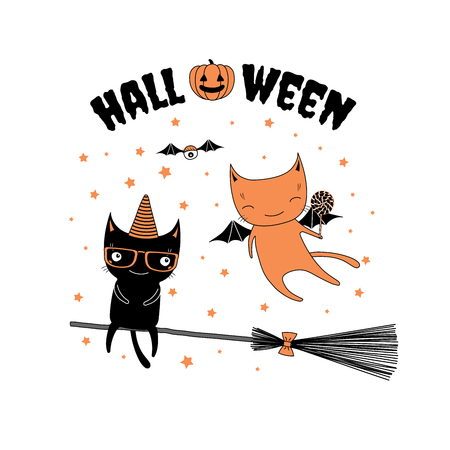 Hand drawn vector illustration of funny cartoon cats, one with bat wings holding a lollipop, another in a hat, flying on a broomstick, with text and pumpkin. Design concept for children, Halloween.