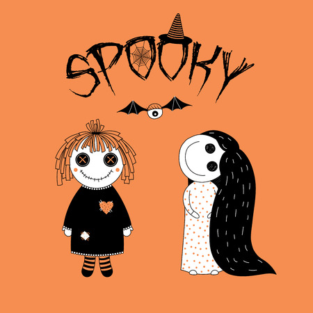 Hand drawn vector illustration of funny spooky cartoon girls, a rag doll with stitched mouth, and a girl in a night gown with a big smile and very long hair, with text. Design concept kids, Halloween.