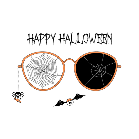 Hand drawn vector illustration of cracked glasses, spider web, spider holding candy hanging on a thread, flying eyes on bat wings, with text Happy Halloween. Isolated objects Design concept for kids.