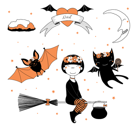 Hand drawn vector illustration of a funny cute cartoon witch girl, flying on a broomstick, cat and bat in flower chains, text on a ribbon, heart, moon and stars. Design concept kids, Halloween.