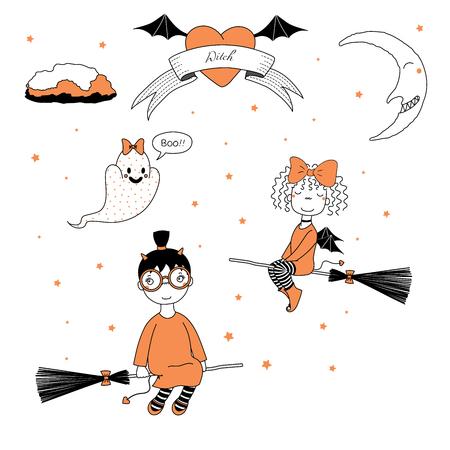 Hand getrokken vector illustratie van een grappige cute cartoon heks meisjes, vliegen op bezemstelen, geest met een strik zeggen Boo, tekst op een lint, hart, maan en sterren. Ontwerpconcept kinderen, Halloween.