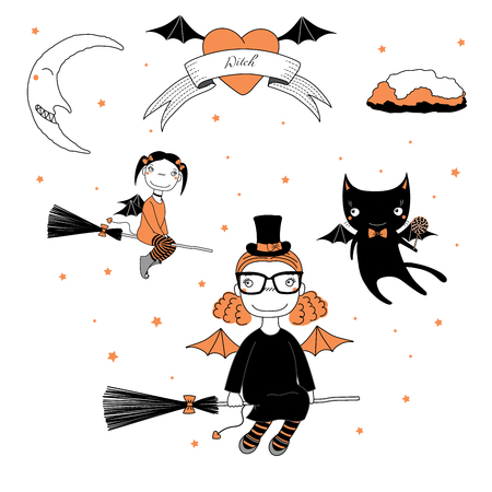 Hand drawn vector illustration of a funny cute cartoon witch girls with bat wings, flying on broomsticks, cat with a lollipop, text on a ribbon, heart, moon and stars. Design concept kids, Halloween.