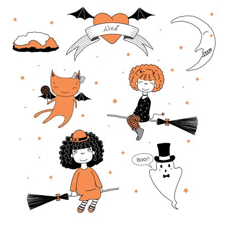 ほうき、ロリポップと猫、シルクハットのゴースト、リボン、ハート、月と星のテキストに飛んで面白いかわいい漫画の魔女の女の子の手描きベク