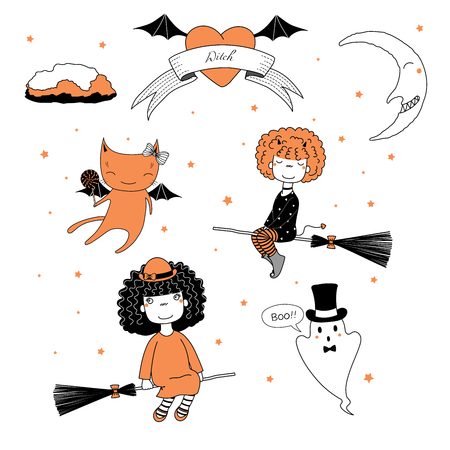 Hand drawn vector illustration of a funny cute cartoon witch girls, flying on broomsticks, cat with lollipop, ghost in top hat, text on a ribbon, heart, moon and stars. Design concept kids, Halloween.