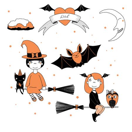 Dé el ejemplo del vector del dibujo de muchachas divertidas de una bruja linda de la historieta, volando en escobas, gato con un caramelo, búho, palo, texto en una cinta, corazón, luna y estrellas. Concepto de diseño para niños, Halloween. Foto de archivo - 88559940