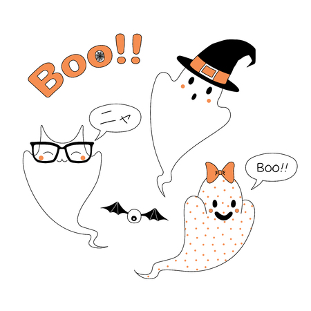 Hand drawn vector illustration of funny cartoon ghosts, with cat ears saying Meow (Nya) in Japanese, in a witch hat, with a ribbon saying Boo, with text Boo. Design concept for children, Halloween. Illustration