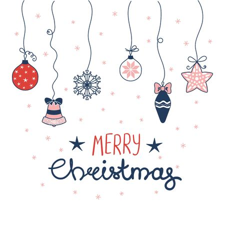 Hand drawn greeting card with Christmas decorations hanging on strings, snowflakes, text Merry Christmas. Isolated objects on white background. Vector illustration. Design concept winter holidays. Illustration