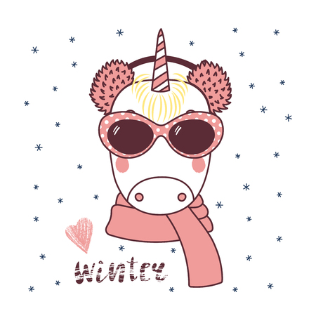 Hand drawn vector portrait of a cute funny unicorn in fluffy earmuffs, sunglasses, text Winter, heart. Isolated objects on white background with snowflakes. Vector illustration. Design concept kids. Иллюстрация
