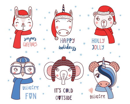 Set of hand drawn cute funny animals in different hats, glasses, earmuffs, mufflers, with winter, snow, Christmas quotes. Isolated objects on white background. Vector illustration. Design concept kids