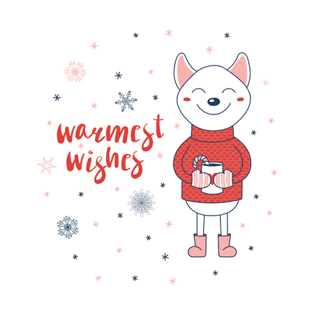 Hand drawn Christmas greeting card with a cute shiba inu dog in a sweater holding a cup, text Warmest wishes. Isolated objects on white background. Vector illustration. Design concept winter holidays