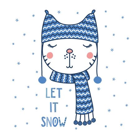 Hand drawn vector portrait of a cute funny cat in a warm hat with pompoms, text Let it snow. Isolated objects on white background with snowflakes. Vector illustration. Design concept for children.