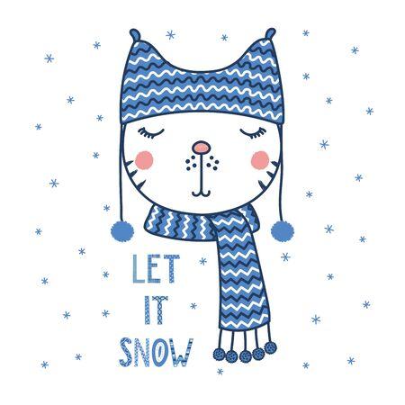Hand getekend vector portret van een leuke grappige kat in een warme hoed met pompoms, tekst laat het sneeuwen. Geïsoleerde objecten op witte achtergrond met sneeuwvlokken. Vector illustratie. Ontwerpconcept voor kinderen.