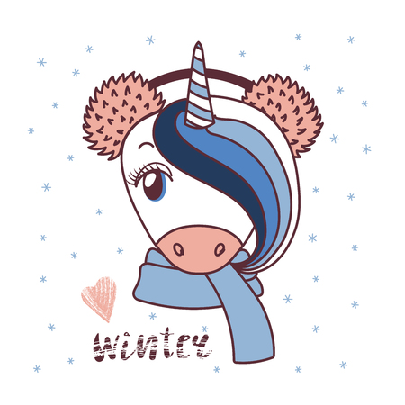Hand drawn vector portrait of a cute funny unicorn in fluffy fur earmuffs, text Winter, heart. Isolated objects on white background with snowflakes. Vector illustration. Design concept for children.