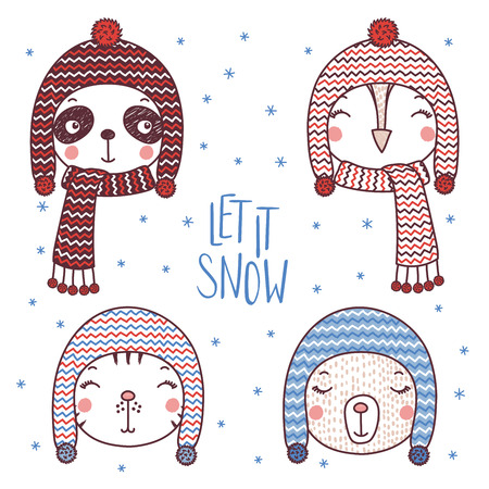 Set of hand drawn cute funny portraits of cat, bear, panda, owl in different warm hats, text Let it snow. Isolated objects on white background. Vector illustration. Design concept for kids, winter.