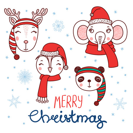 Set of hand drawn cute funny portraits of panda, deer, owl, elephant in Santa Claus, elves hats, text Merry Christmas. Isolated objects on white background. Vector illustration. Design concept kids.