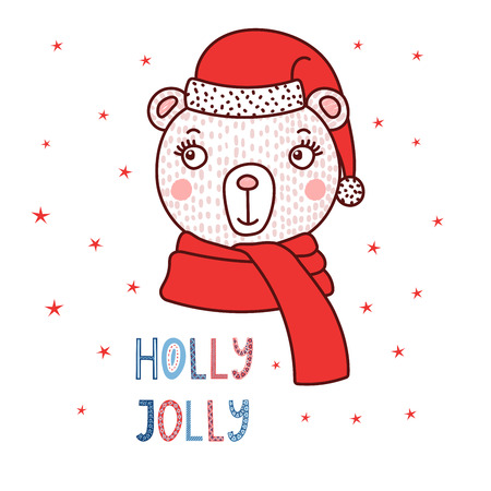 Hand drawn vector portrait of a cute cartoon funny bear in a Santa hat, text Holly jolly. Isolated objects on white background with stars. Vector illustration. Design concept for children, Christmas.