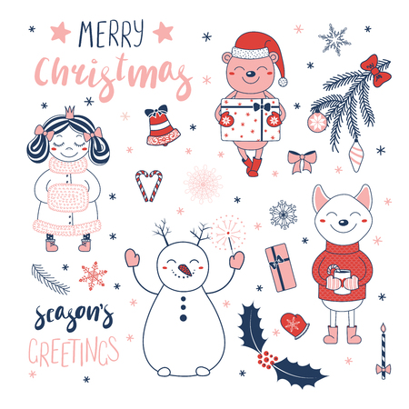 Set of hand drawn Christmas design elements with cute cartoon princess, bear with a present, snowman, dog, typography Merry Christmas, Seasons greetings. Isolated objects on white background. Vector. Illustration