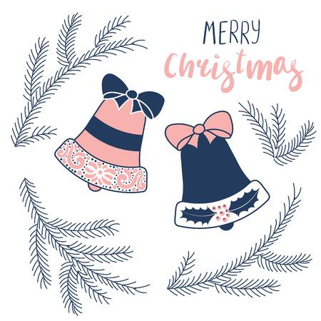 손으로 그린 크리스마스 인사말 카드 종소리와 전나무 트리 나뭇 가지, 텍스트 메리 크리스마스. 흰색 배경에 고립 된 개체입니다. 벡터 일러스트 레이 일러스트
