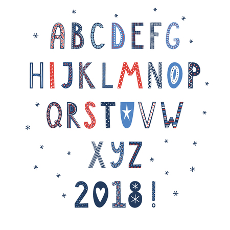Hand drawn latin alphabet in Scandinavian style with ornate letters in blue, red and white. Make your own Christmas typography. Isolated objects on white background. Vector illustration.