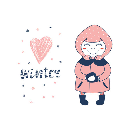 Hand drawn vector illustration of a cute little girl in a coat, boots and headscarf, making a snowball, text Winter and heart. Isolated objects on white background. Design concept for children. Ilustracja