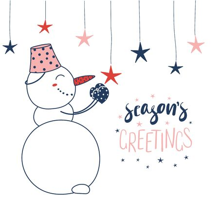 Hand drawn Christmas greeting card with a cute cartoon snowman hanging star ornaments, text Seasons greetings. Isolated objects on white background. Vector illustration. Design concept winter holidays