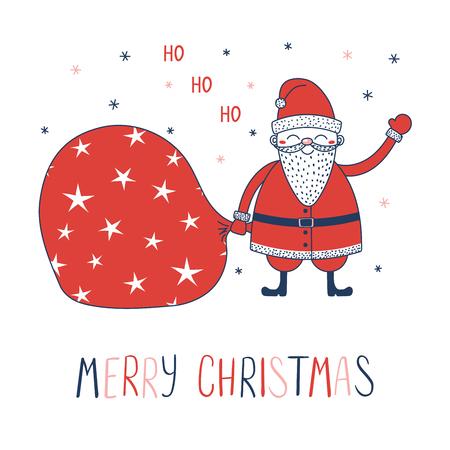 Hand drawn Christmas greeting card with a cute cartoon Santa Claus with a bag.