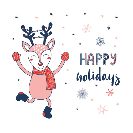 Hand drawn greeting card with a cute cartoon deer with a red nose and Christmas lights hanged on antlers, text Happy holidays. Isolated objects on white background. Vector illustration. Design concept