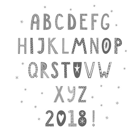 Hand drawn latin alphabet in Scandinavian style with ornate letters in gray and white. Make your own Christmas typography. Isolated objects on white background. Vector illustration.