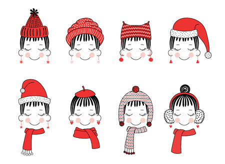 Set of hand drawn cute funny smiling girl faces in different warm hats, earmuffs, mufflers. Isolated objects on white background. Vector illustration. Design concept for kids, winter, cold weather.