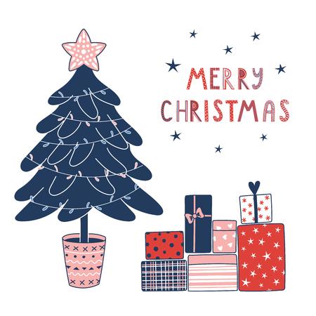 Bergeben Sie gezogene Grußkarte mit einem Karikaturtannenbaum verziert mit Girlanden, Stern, Geschenken, Text frohen Weihnachten. Isolierte Objekte auf weißem Hintergrund. Vektor-illustration Designkonzept Winterferien Standard-Bild - 88833625