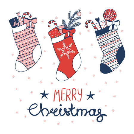 Hand drawn greeting card with various stocking filled with presents, sweets, snowflakes, text Merry Christmas. Isolated objects on white background. Vector illustration. Design concept winter holidays