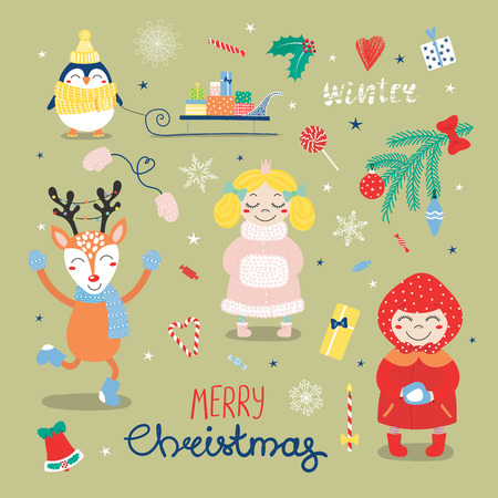 Set of hand drawn flat Christmas design elements with cute cartoon princess, penguin, sledge with gifts, deer, little girl, typography Merry Christmas, Winter. Isolated objects. Vector illustration .