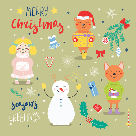 Set of hand drawn Christmas design elements with cute cartoon princess, bear with a present, snowman, dog, typography Merry Christmas, Seasons greetings. Isolated objects. Vector illustration.