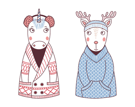 Hand drawn vector illustration of a cute funny unicorn in a knitted cardigan and fur earmuffs, deer in a sweater and beanie. Isolated objects on white background. Design concept for children. Stock Illustratie