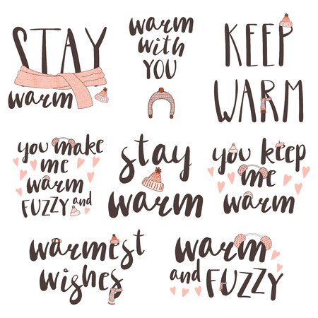 Set of different quotes, typographic elements about warmth, with hand drawn doodles of knitted caps and scarfs. Isolated objects on white background. Design concept winter, autumn, love.