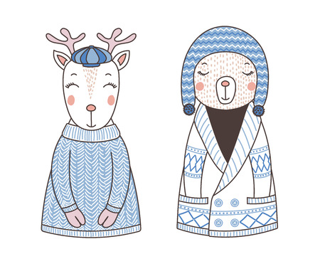 Hand drawn vector illustration of a cute funny bear in a knitted cardigan and hat, reindeer in a sweater and cap. Isolated objects on white background. Design concept for children. Illustration