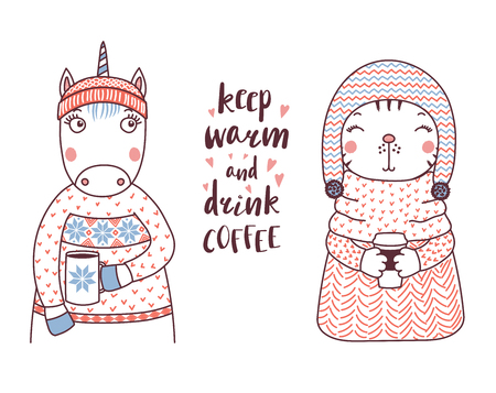 Hand drawn vector illustration of a cute funny unicorn and cat in knitted sweaters, holding cups, text Keep warm and drink coffee. Isolated objects on white background. Design concept for kids.