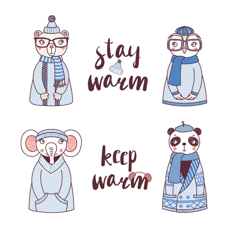 Hand drawn vector illustration of a cute funny owl, bear, panda, elephant, in knitted sweaters, hats, text Stay warm, Keep warm. Isolated objects on white background. Design concept for children.